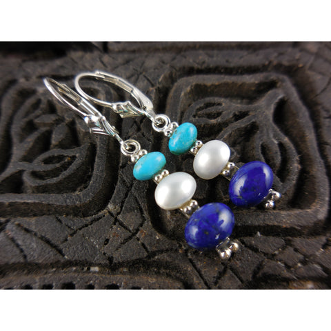 Turquoise, Pearl, and Lapis .925 Sterling Silver Earrings