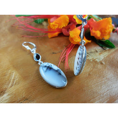 Dendritic Opal and Onyx Gemstone Sterling Silver Earrings