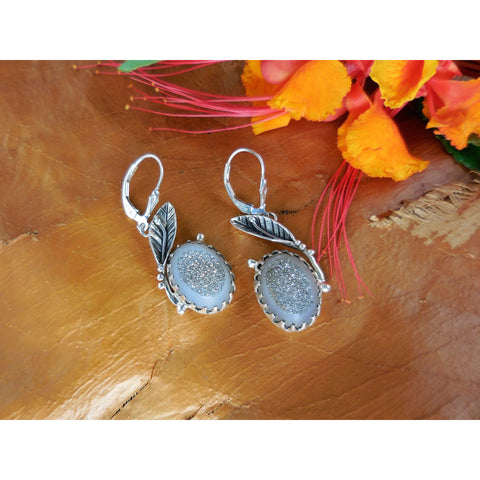 Titanium Drusy Sterling Silver Leaf Earrings