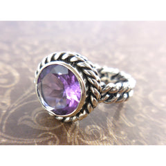 Amethyst Quartz .925 Sterling Silver Rope Ring - Size 8