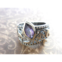 Amethyst .925 Sterling Silver Lily & Heart Ring - Size 8