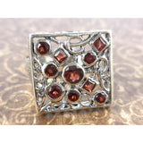 Garnet .925 Sterling Silver Square Ring - Size 7.75
