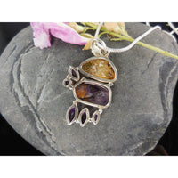 Cacoxenite, Amethyst, and Citrine Gemstone Sterling Silver Pendant/Necklace