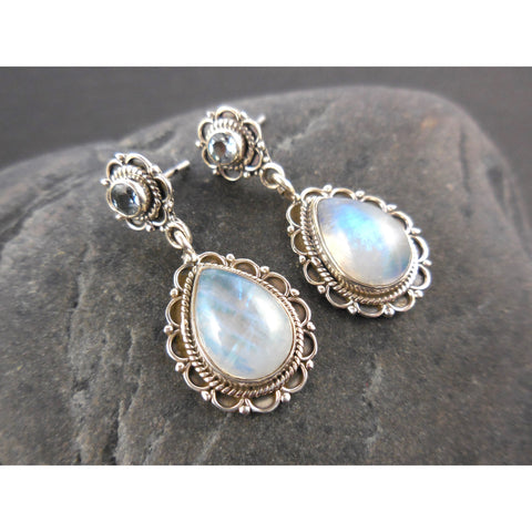 Blue Topaz & Moonstone .925 Sterling Silver Post Earrings