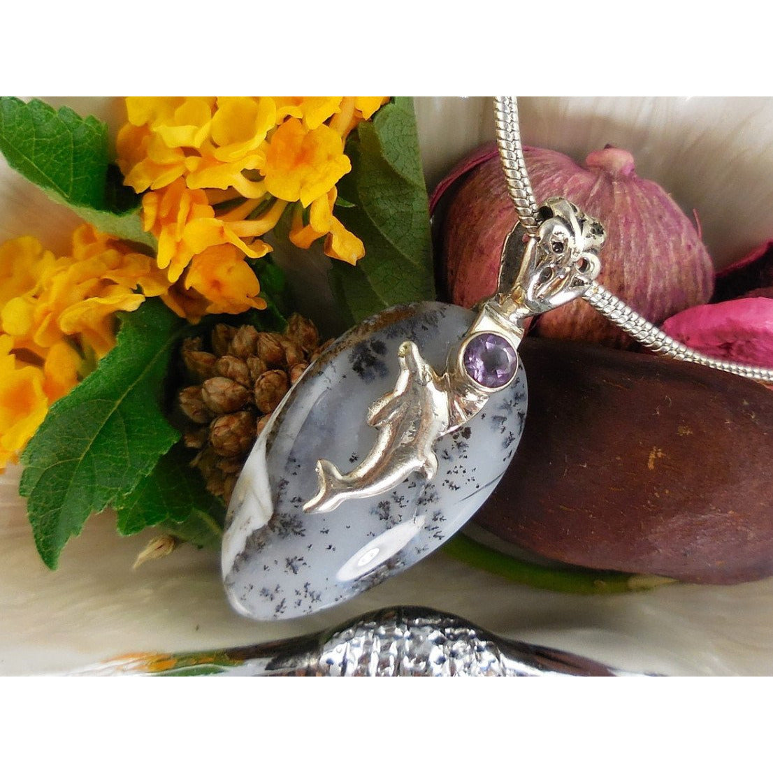 Dendritic Opal and Amethyst Sterling Silver Dolphin Pendant/Necklace