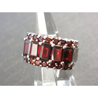 Garnet .925 Sterling Silver Post Ring - Size 6.75