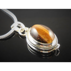 Tiger's Eye Sterling Silver Locket Pendant/Necklace