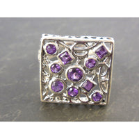Amethyst .925 Sterling Silver Square Ring - Size 7.75