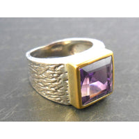Amethyst Sterling Silver Two-Tone Ring – Size 6.75
