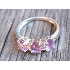Amethyst Three-Stone & CZ .925 Sterling Silver Ring – Size 6.75