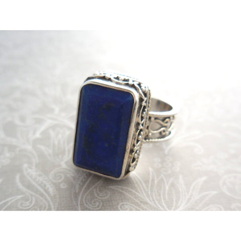 Lapis Ornate .925 Sterling Silver Ring - Size 7.5