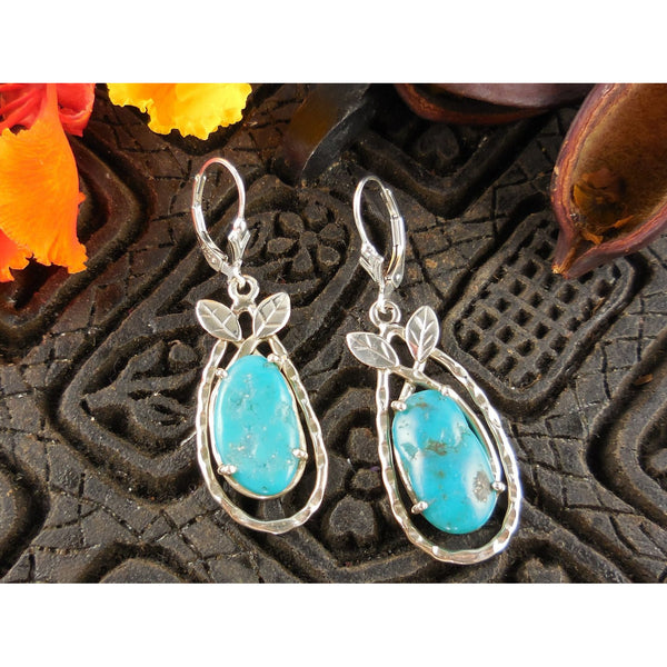 Turquoise Sterling Silver Leaf Earrings