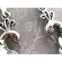 Moonstone & Garnet Peacock .925 Sterling Silver Earrings