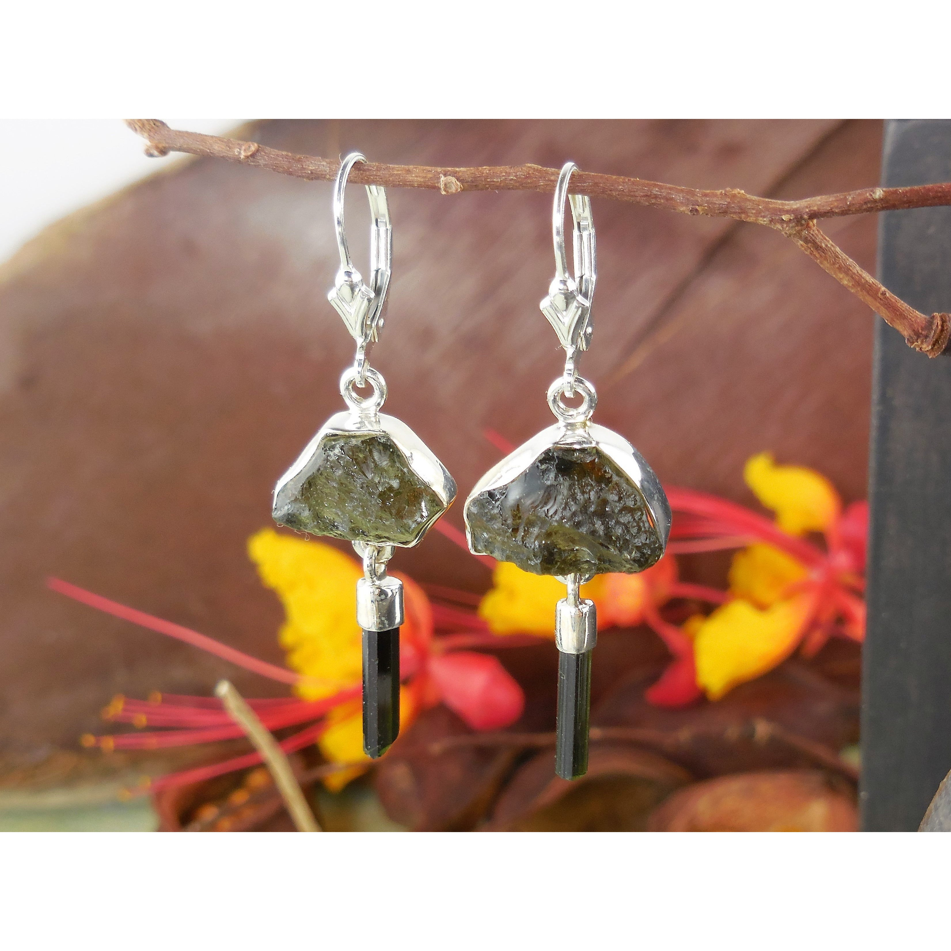 Tourmaline (Rough) Sterling Silver Earrings