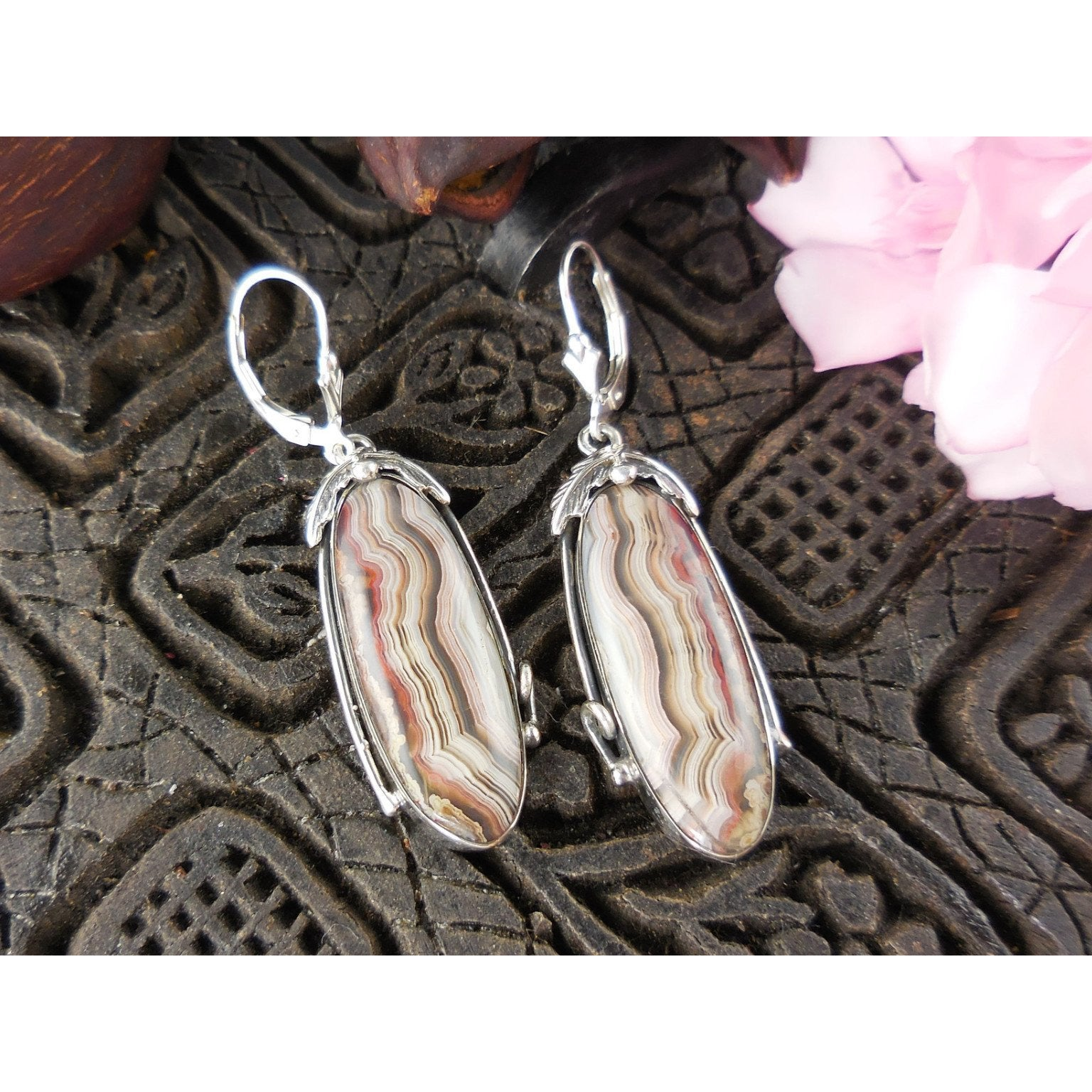 Lace Agate Sterling Silver Leaf Earrings