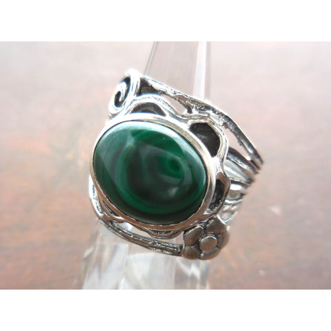 Malachite .925 Sterling Silver Flower Ring - Size 7.5