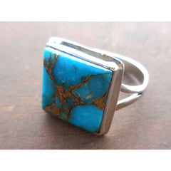 Turquoise & Copper .925 Sterling Silver Square Ring - Size 8.5