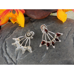Garnet Sterling Silver Post Earrings