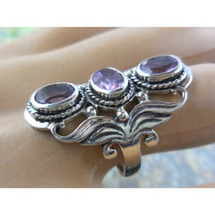 Amethyst 3-Stone .925 Sterling Silver Ring - Size 6.90
