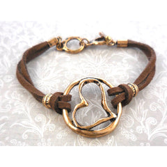 Faux Leather Heart Toggle Bracelet - Gold Tone/Brown