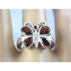 Garnet .925 Sterling Silver Butterfly Ring - Size 7.90