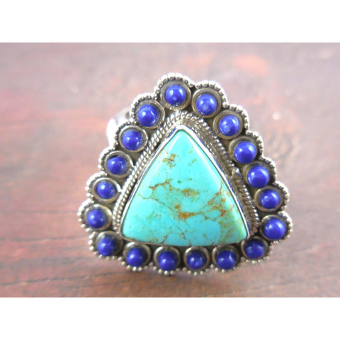 Turquoise & Lapis .925 Sterling Silver Triangle Ring - Size 8.5