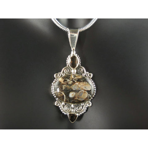 Turtella Jasper & Smoky Topaz Sterling Sterling Pendant/Necklace