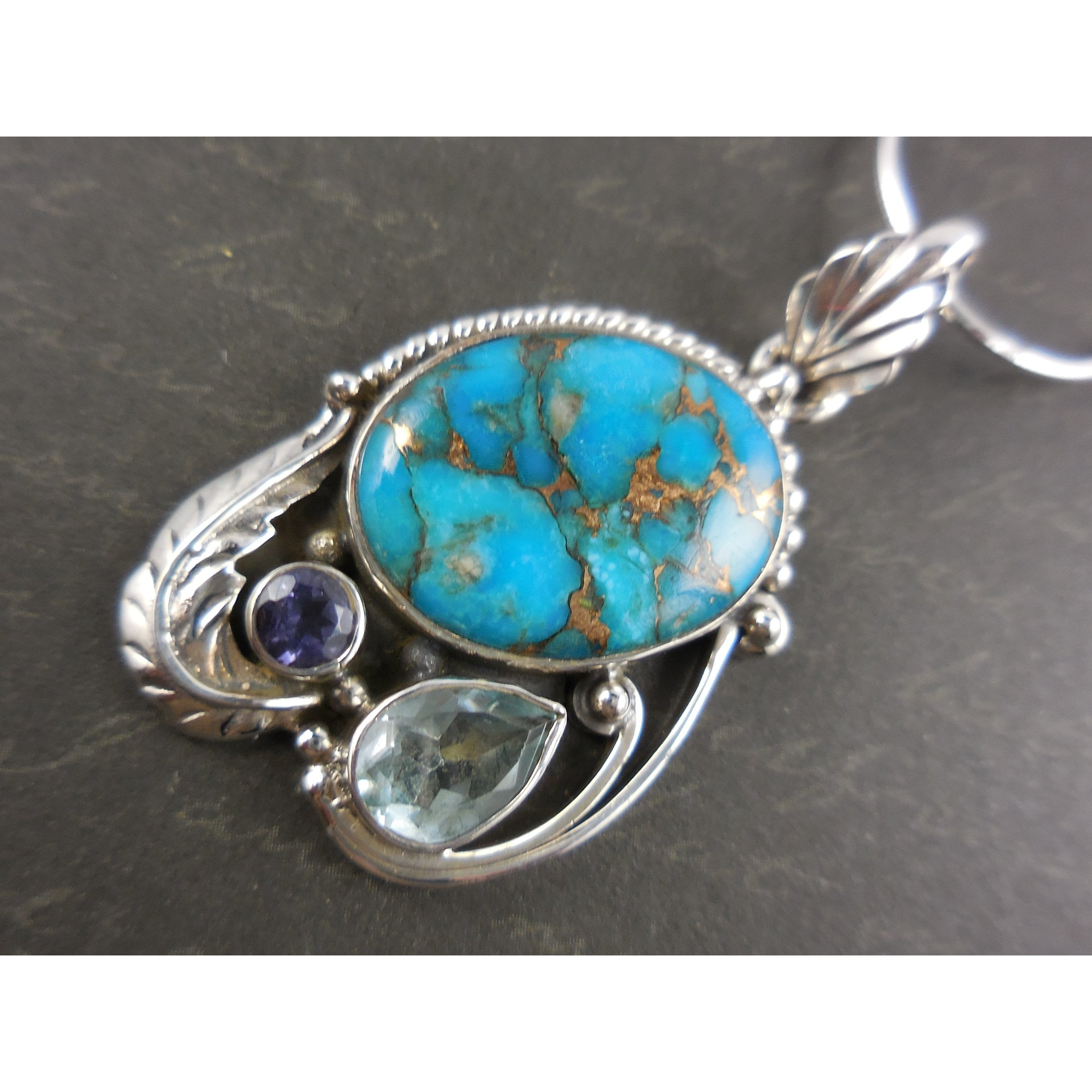 Turquoise, Iolite, & Blue Topaz .925 Sterling Silver Pendant/Necklace