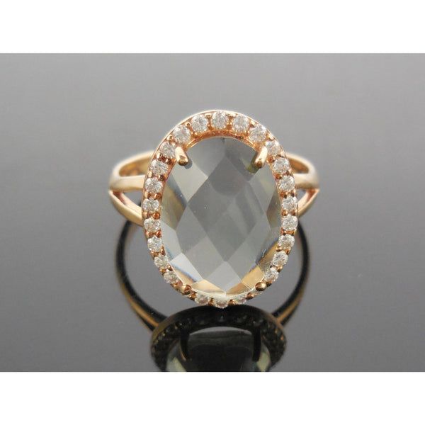 Green Amethyst &  White Topaz 18kt Gold Plated .925 Sterling Silver Ring - Size 7.50