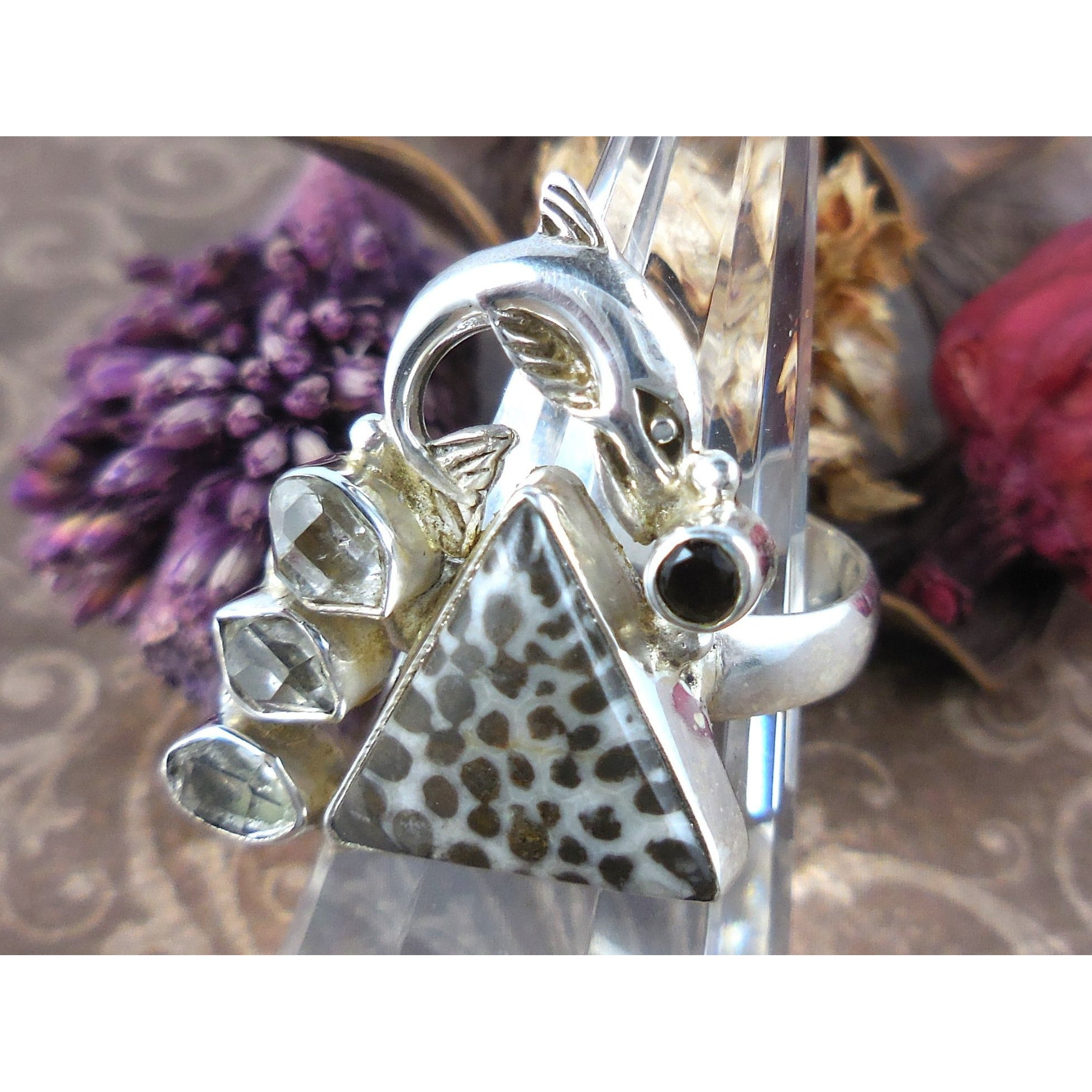 Stingray Coral, Herkimer Diamond (Quartz), and Onyx 925 Sterling Silver Dolphin Ring - Size 7.75