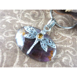 Cacoxenite & Citrine .925 Sterling Silver Dragonfly Pendant/Necklace