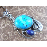 Turquoise, Herkimer Diamond (Quartz), & Lapis .925 Sterling Silver Pendant/Necklace