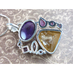 Amethyst & Citrine (rough) .925 Sterling Silver Pendant/Necklace