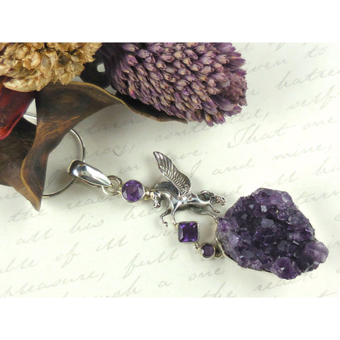 Amethyst (faceted & rough) .925 Sterling Silver Pegasus Pendant/Necklace