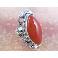 Carnelian Cabochon .925 Sterling Silver Ring - Size 8.5