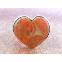 Italian Coral .925 Sterling Silver Heart Ring - Size 9.25