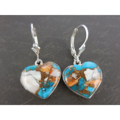 Turquoise & Copper .925 Sterling Silver Heart Earrings