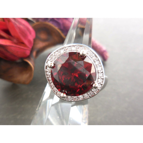 Garnet-Colored CZ & .925 Sterling Silver Coctail Ring - Size 6.5