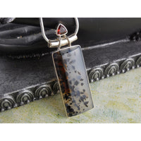 Montana Agate & Garnet Sterling Silver Pendant/Necklace