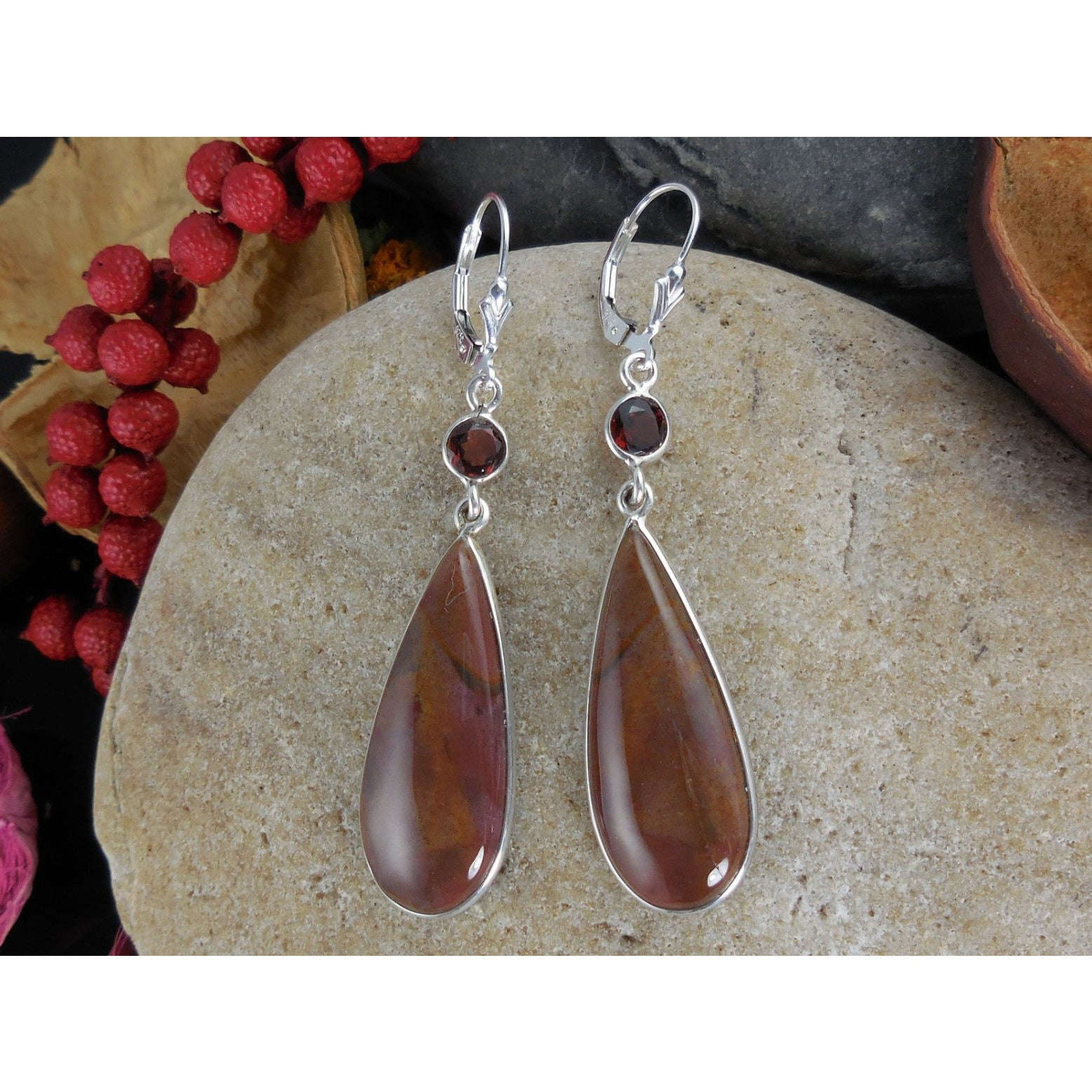 Bloodstone & Garnet Sterling Silver Earrings