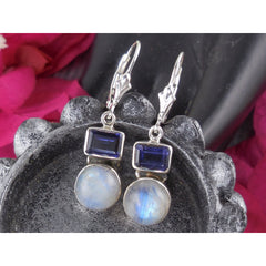 Moonstone & Iolite Sterling Silver Earrings