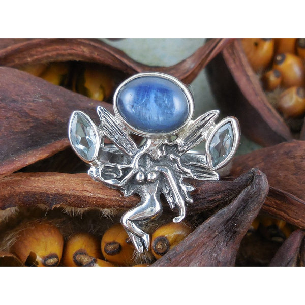 Kyanite & Blue Topaz Sterling Silver Fairy Ring - Size 6.75