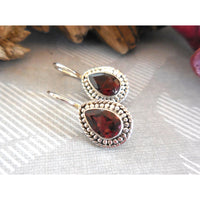 Garnet .925 Sterling Silver Fishhook Earrings