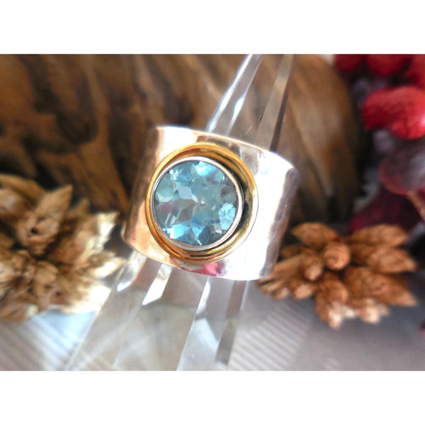 Bi-Color Blue Topaz .925 Sterling Silver Bezel Ring - Size 7.75