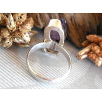 Herkimer Diamond (Quartz) & Amethyst Rough .925 Sterling Silver Bezel Ring - Size 7.50