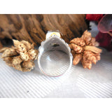Two-Tone Herkimer Diamond (Quartz) .925 Sterling Silver Bezel Ring - Size 7.75