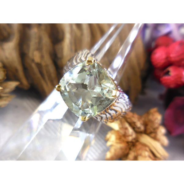 Two-Tone Green Amethyst .925 Sterling Silver Ring – Size 6.75