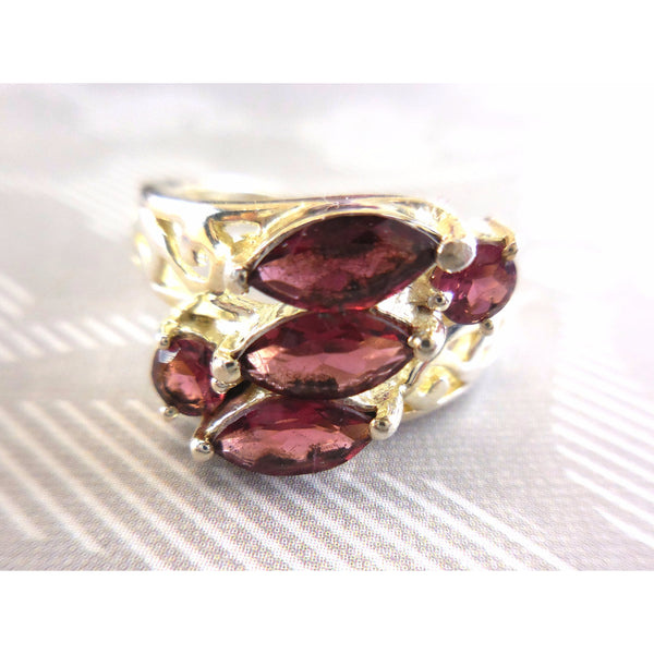 Marquis Garnet 5-Stone .925 Sterling Silver Ring - Size 7.75