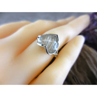 Golden Rutilated Quartz Heart-Shaped .925 Sterling Silver Bezel Ring - Size 6.25