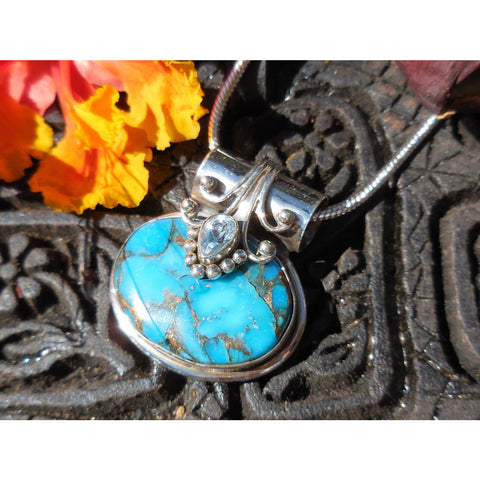 Turquoise & Blue Topaz Sterling Silver Pendant/Necklace